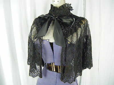 Antique Victorian Black Mourning Lace Satin Glass Beaded Capelet