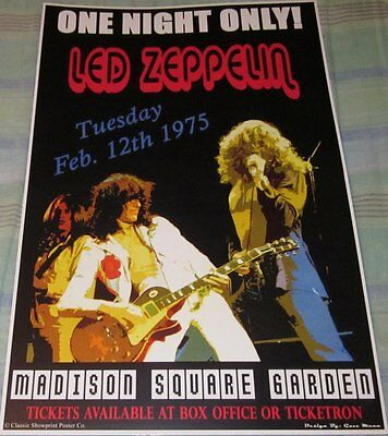Led Zeppelin 1975 Madison Square Garden Replica Concert Poster W/top Loader