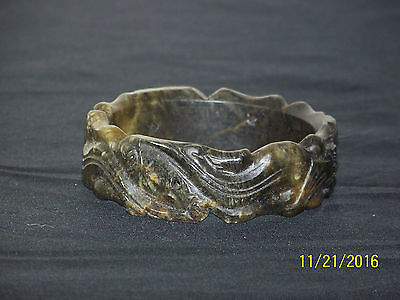 "Chinese ""Old"" Jade Carved Dragon Chinese Bangle Bracelet"