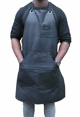 Heavy Duty Waxed Canvas Work Apron Black Water Resistant Home Workshop Pockets