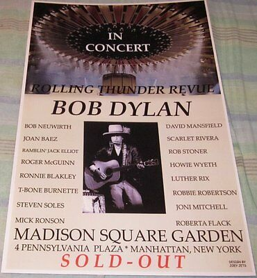 Bob Dylan 1975 Msg Rolling Thunder Revue Replica Concert Poster W/top Loader