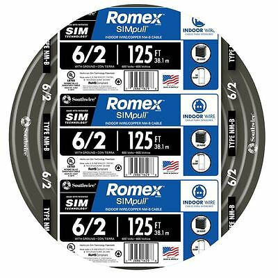 Southwire Romex 6-2 AWG Non-Metallic Cable Copper Wire - 125 ft (By-the-Roll)