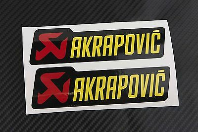 AKRAPOVIC exhaust decals stickers 2 pcs HEAT PROOF! Yellow / Metallic Gold