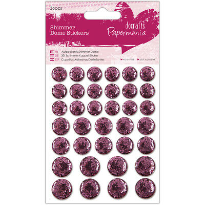 Papermania Shimmer Dome Bling Stickers 36/Pkg Pink PM805914