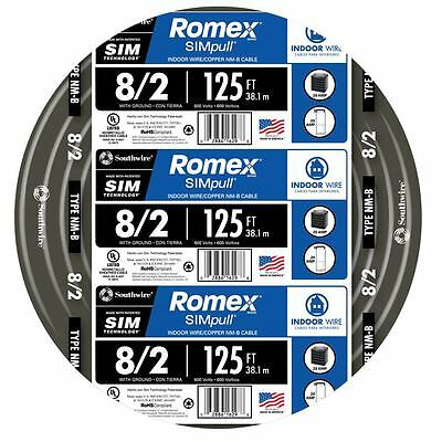 Southwire Romex 8-2 AWG Non Metallic Cable Copper Wire 125' By the Roll 28893602