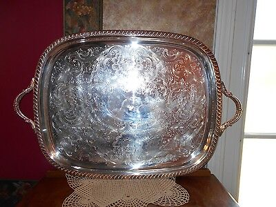 """HUGE Towle Footed Silverplate Vintage Serving Tray Platter handles 27"""" x 18"""""""