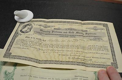 Wyoming Platinum And Mining Syndicate  Stock Certificate 1928