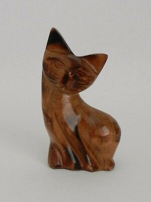 Vintage Hand Carved Wood Cat  ~  4  1/4 '' Tall