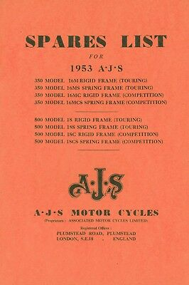 AJS Parts book 1953 16 18CS and Matchless G3L Rigid Frame & Spring Frame
