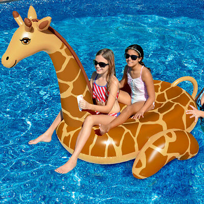 "Swimline 96"" Giant Giraffe Swimming Pool Inflatable Animal Ride On Float"