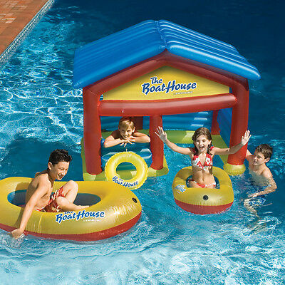 Swimline Boathouse Swimming Pool Inflatable Habitat Float Boat Raft Set