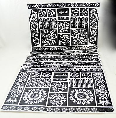 Henna Stencil Mehndi Stencils Arabic/Indian Style, Pack of 8 pages, large size