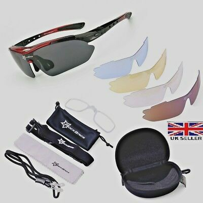 Polarized Cycling Glasses By Rockbros Bike MTB Sports Sunglasses 5 Lens Goggles