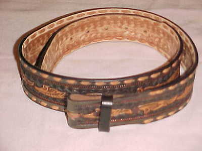 WRIGHT Hand Tooled Western Style Leather Belt 34 Hand Tooled VGC BROWN / TAN