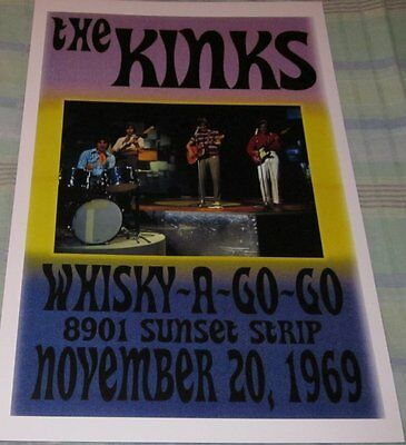 The Kinks 1969 Whisky A Go-Go Replica Concert Poster W/top Loader