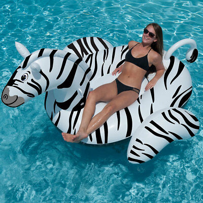 "Swimline 96"" Giant Zebra Swimming Pool Inflatable Animal Ride On Float"