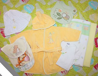 *euc* Lot Of 9 Infant Bath And Or Beach Set Robe, Bibs, Hat, Blankets, Onsie