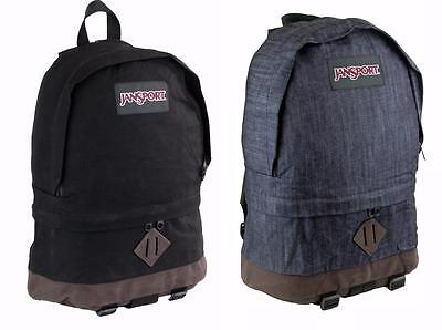 "New JanSport Beatnik 13"" Laptop Tablet Backpack 100% Authentic Black Blue Denim"
