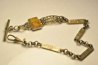 Light Weight Beautiful Antique silver tone Pocket Watch chain/fob/T-bar 13 Inch