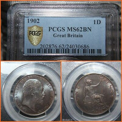 1902 Great Britain Penny NGC   MS-62 BN