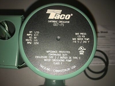 TACO 007-F5 Hot Water Circulation Pump 1/25 HP Residential w/Free Shipping