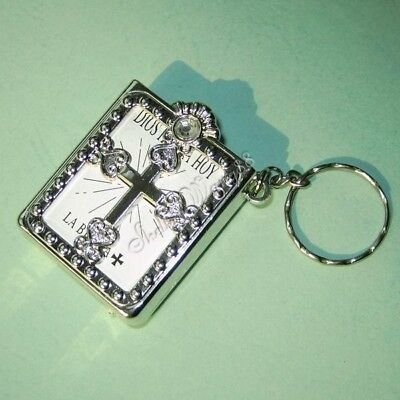 MINI Holy BIBLE KEY CHAIN CRAFTS VBS Christian MINIATURE Jesus Gift Spanish