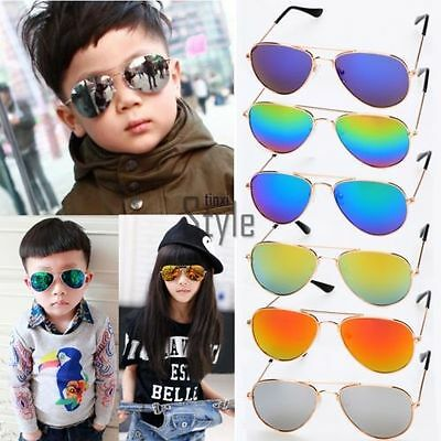 Children Kids Sunglasses Girl Boy Vintage Metal Frame Mirror Lens Sun Glasses @