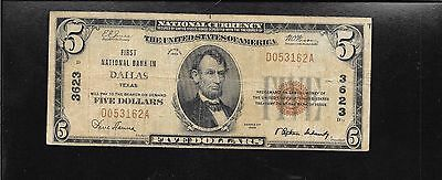 TEXAS , First National DALLAS- - $5 dollars  1929 Type 2  # 3623 Rare