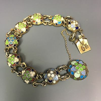 Antique Russian 84 Silver Enamel Bracelet ГП