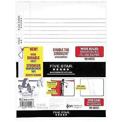 Five Star Filler Paper, Wide Ruled, Reinforced, Loose Leaf Paper, 10.5 x New