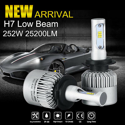 Pair 252W 25200LM H7 PHILIPS LED Headlight Kit Fog Light Bulbs Lamp 6000K White