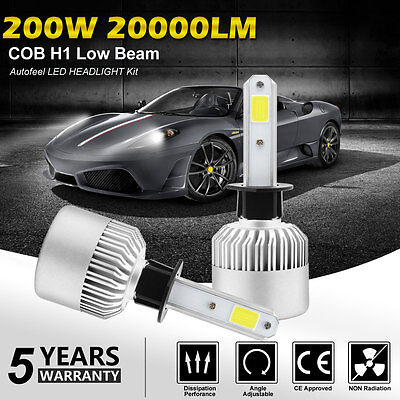 Pair 252W 25200LM H1 PHILIPS LED Headlight Kit Fog Light Bulbs Lamp 6000K White