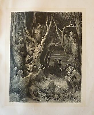 Antique engraving by Gustave Dore, the Harpies of Dante's Inferno