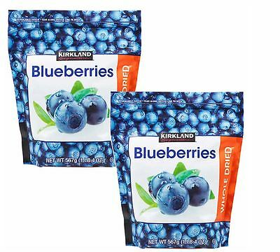 2x Kirkland Signature Whole Dried Blueberries 567g x2