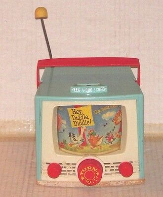 Vintage Fisher Price Peek-A-Boo Screen Hey Diddle Diddle Tv Music Box #196 1964