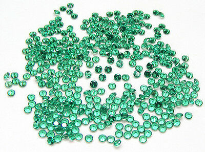 100 Pcs. Round 2.3 Mm. Machine Cut Lab Created Nanocrystal Emerald