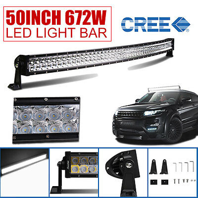 50Inch 672W LED Light Bar Curved Spot Flood Combo Offroad SUV 4WD JEEP FORD ATV