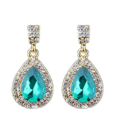 Crystal Diamante Teardrop Drop Dangle Earrings Women Bridal Wedding Jewelry Gift
