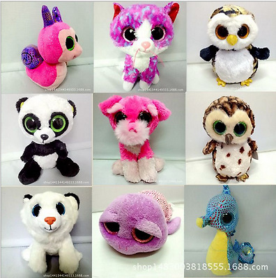Ty Beanie Boos Big Eyes lovely Dog Cat Owl Bear Giraffe Animals Dolls Plush Toys