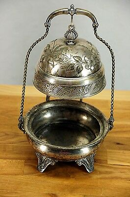 James W. Tufts Quadruple Silverplate Antique Hanging Butter / Caviar Domed Dish