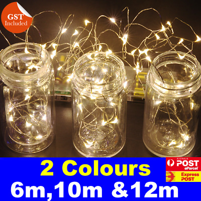 6 - 12M Battery Operated Powered Copper Wire String Fairy Lights Cool Warm White