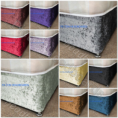 Crushed Velvet Elasticated Bed Valance Divan Base Cover  All colours, All sizes