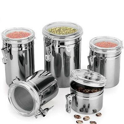 Stainless Steel Canister Coffee Airtight Kitchen 4 Storage Piece Sugar Lid New