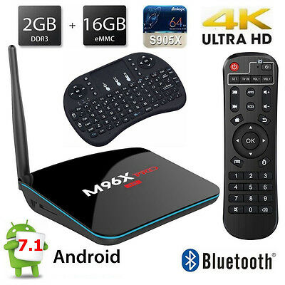 Pro 4K Quad Core Android 6.0 WiFi 2/16GB 17.3 Bluetooth TV Box +Keyboard for MXQ