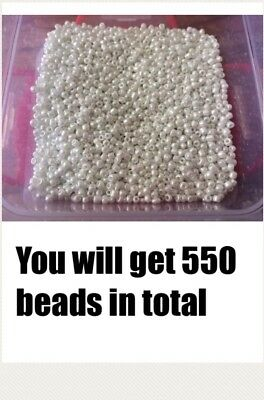 500 Pearl Seed Hard Plastic Beads On Fishing Line.1 To 3mm In Size .shinny