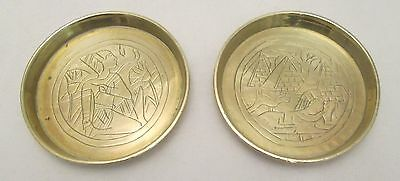 A Pair of Small Brass Egyptian Dishes - Vintage - Pyramids