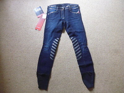 Animo ladies denim jeans silicone knee grip breeches blue/gold size I 40 UK 8