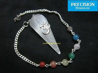 White Selenite Moonstone Chakra Om Faceted Crystal Gemstone Precision Pendulum