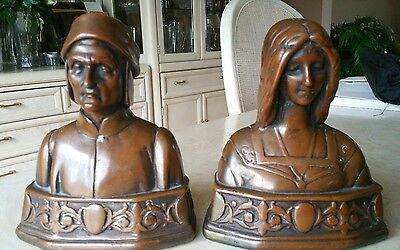 "Vintage Dante & Beatrice Weighted Bronze 7"" Bookends"