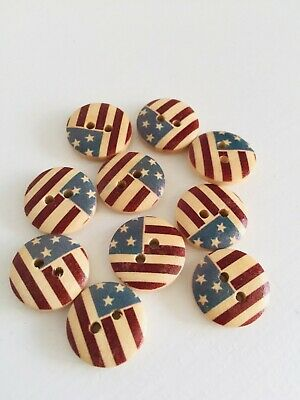 10 Pcs American flag wooden buttons 2-holes buttons15mm Sewing Scrapbooking (224